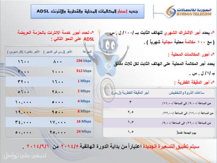السورية للاتصالات ترفع أسعار المكالمات المحلية والقطرية والإنترنت..وإيقاف شبكة خدماتها الذكية