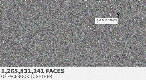 صفحة انترنت تضم جميع الصور الشخصية لمستخدمي الفيسبوك في صورة مركبة واحدة