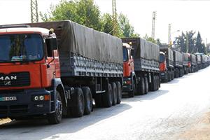 إنخفاض كميات البضائع المنقولة من دمشق لخارج سورية إلى الربع خلال 3 أشهر