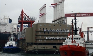 أولى سفن إنتاج الطاقة الكهربائية التركية في طريقها إلى لبنان