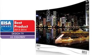 تلفاز إل جي إلكترونيكس بشاشة OLED المنحنية يفوز بجائزة التلفاز الأكثر شهرة في أوروبا لعام 2013-2014