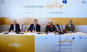 اليونيسيف ومنظمة الصحة العالمية تدعمان حملة التحصين ضد شلل الأطفال في الشرق الأوسط.. وتلقيح 2.9 مليون طفل في سورية