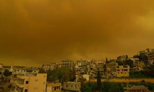 مصدرها السعودية..عاصفة رملية تؤدي لوفاة شخصين وغصابة 35 شخصاً في السويداء