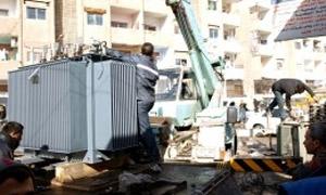 كهرباء دمشق: تركيب ثلاث مراكز تحويل بمزة جبل 86