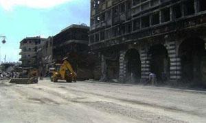 بدء المرحلة الثانية من أعمال ترحيل الأنقاض من أحياء حمص القديمة