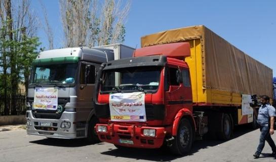 سورية تتسلم قافلة مساعدات محملة بـ180 طنا من المواد الغذائية من حملة الوفاء الاوروبية