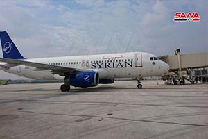 بالصور: هبوط أول رحلة جوية قادمة من دمشق إلى مطار حلب الدولي بعد إنقطاع 8 سنوات