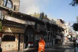 حريقان بحي ساروجة وأضرار مادية بالمحلات التجارية في الفحامة بدمشق